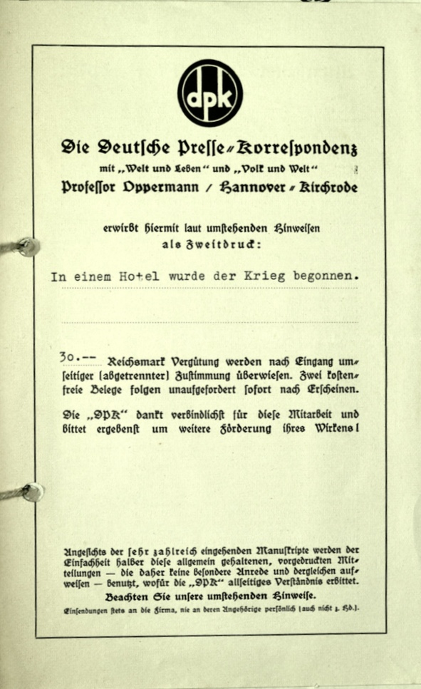 Richborough transit camp, Wolfgang Priester, Pamphlet, Deutßche Preße = Korreßpondenz, nd, cover