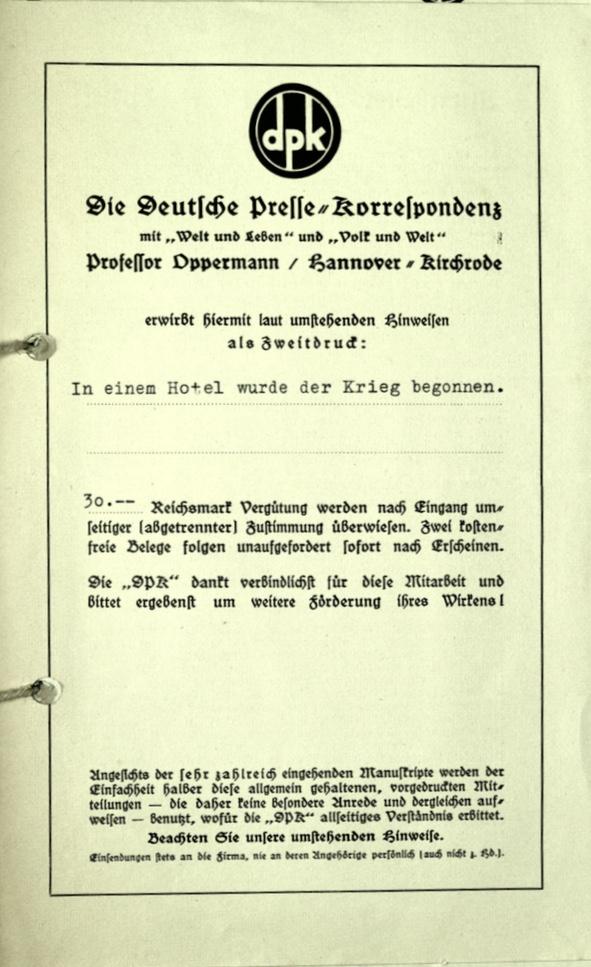 Richborough transit camp, Wolfgang Priester, Pamphlet, Deutßche Preße = Korreßpondenz, nd, cover