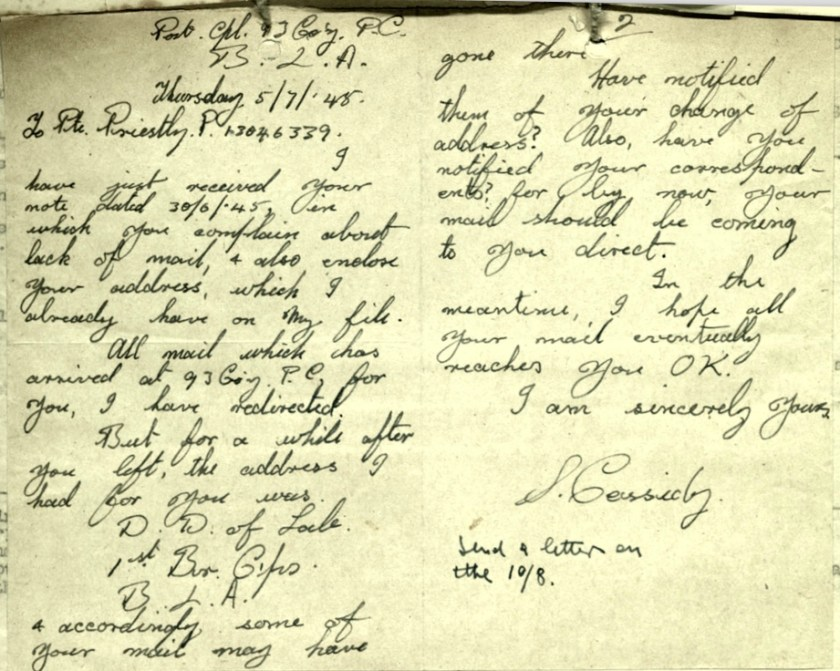 Wolfgang Priester, Pioneer Corps, 93 Company, Letter 5 July 1948