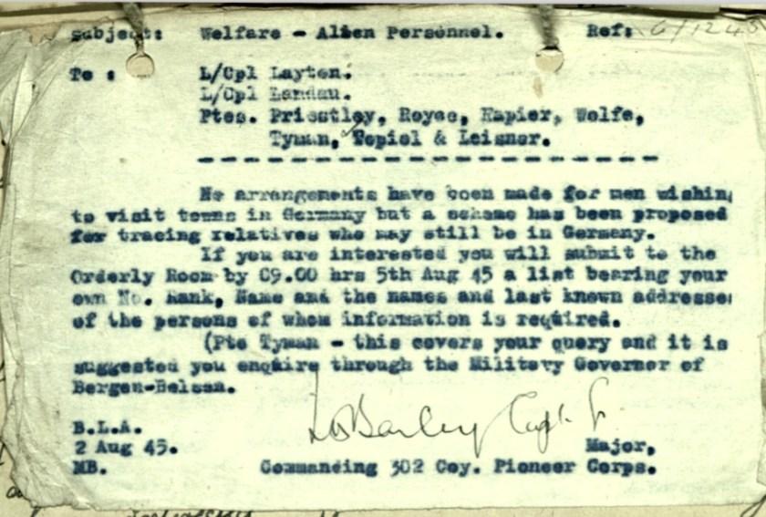 Wolfgang Priester, Letter 2 August 1945 Pioneer Corps, Welfare, Alien personnel, L/Cpl Layton, L/ Cpl Landau, Ptes. Priestley, Reyee, Rapier, Welfe, Tyman, Tepiel, Leigner, Commanding 302 Coy, Tracing relatives 5 August 1945