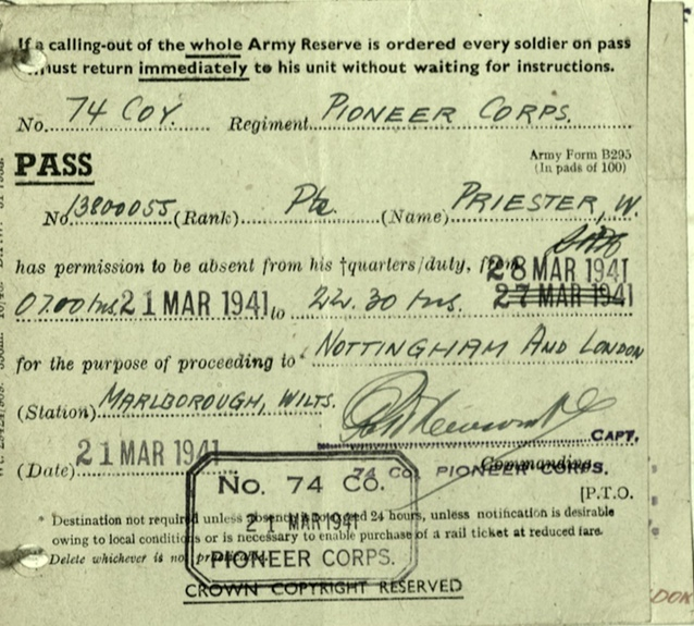 Wolfgang Priester, Pioneer Corps, 74 Coy, Pass for absence, 28 March 1941, to Nottingham and London, stationed Marlborough, Wilts, 21 March 1941