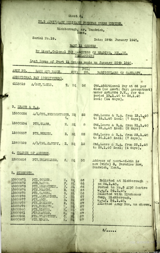 Wolfgang Priester, Document, No. 3 Auxilliary Military Pioneer Corps Centre, Kitchener camp, Richborough, Sandwich, Serial No. 19, Part II Orders, 26 January 1940, Page 3