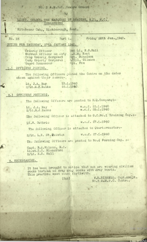 Wolfgang Priester, Document, No. 3 Auxilliary Military Pioneer Corps Centre, Kitchener camp, Richborough, Sandwich, Officers Jonas May, Second Lt M J Banks, Serial No. 19, Part II Orders, 26 January 1940, Page 1