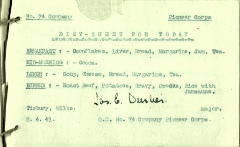 Wolfgang Priester, Pioneer Corps, No. 74 Coy, Diet sheet for today, 2 April 1941