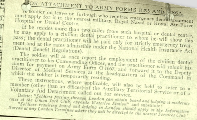 Wolfgang Priester, Pioneer Corps, Attachment to army forms, Notes on Leave for dental treatment