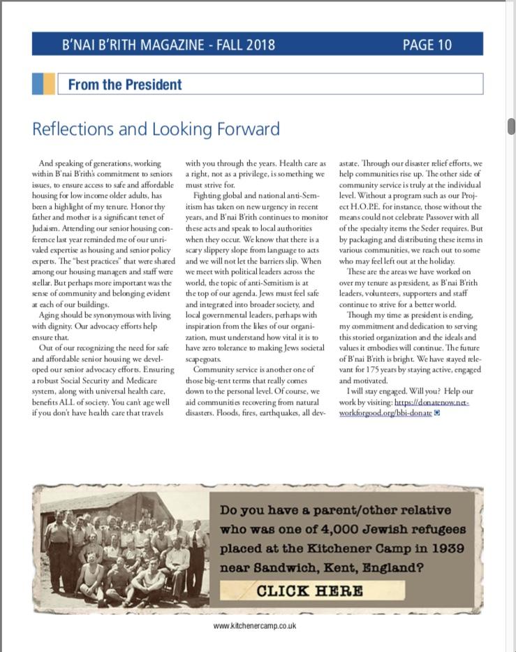 Kitchener camp, B'Nai B'rith Magazine advertisement, Fall 2018