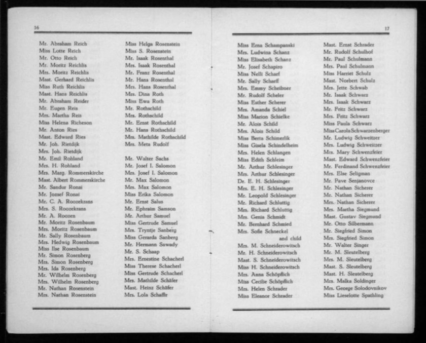 Kitchener camp, Werner Gembicki, Document, List of Passengers from Rotterdam to New York, 22 November 1939, pages 16 to 17