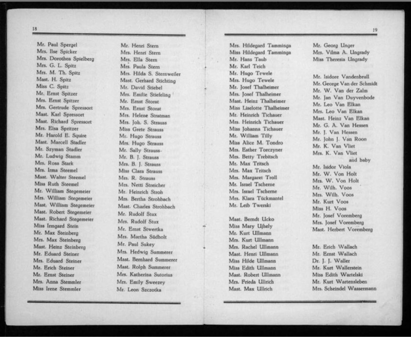 Kitchener camp, Werner Gembicki, Document, List of Passengers from Rotterdam to New York, 22 November 1939, pages 18 to 19