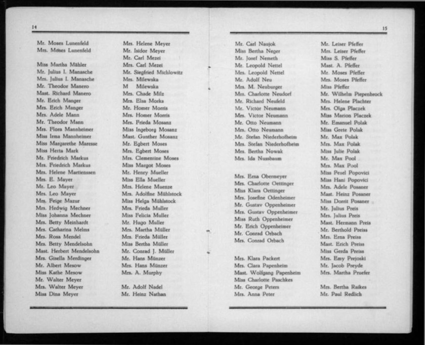 Kitchener camp, Werner Gembicki, Document, List of Passengers from Rotterdam to New York, 22 November 1939, pages 14 to 15