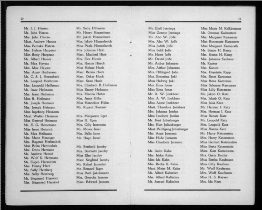 Kitchener camp, Werner Gembicki, Document, List of Passengers from Rotterdam to New York, 22 November 1939, pages 10 to 11