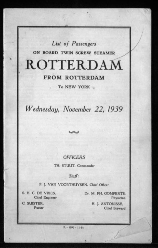 Kitchener camp, Werner Gembicki, Document, List of Passengers from Rotterdam to New York, 22 November 1939, front cover