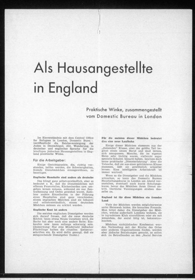 Kitchener camp, Document, Hut 36/II, Werner Gembicki, Wife Vera, Domestic Service Visa, Als Hausangestelte in England, page 1
