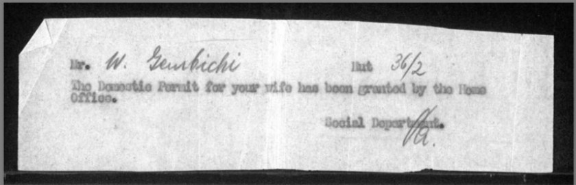 Kitchener camp, Hut 36/II, Document, Werner Gembicki, Domestic Service Visa for wife
