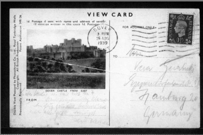Werner Gembicki, Kitchener camp, Postcard, Dover Castle, 26 August 1939, front