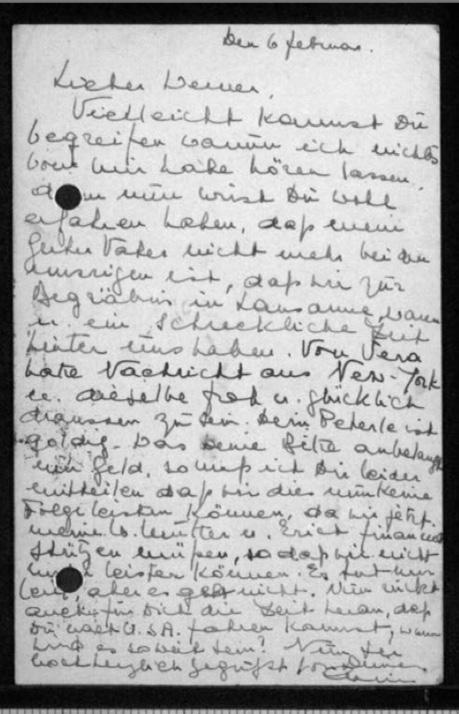 Werner Gembicki, Richborough transmigrant camp, Hut 27/I, Postcard, 6 November 1940, reverse