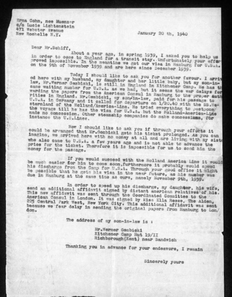 Werner Gembicki, Richborough transit camp, Hut 19/II, Letter, Otto Schiff, Stuck in England, War delaying visa delay, request to postpone ship ticket date, 20 January 1940