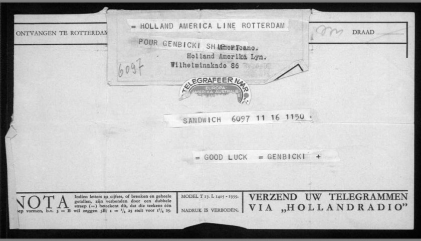 Werner Gembicki, Kitchener camp, Telegram, Holland-America Line, Rotterdam, Good luck, Sandwich, 16 November 1939, front
