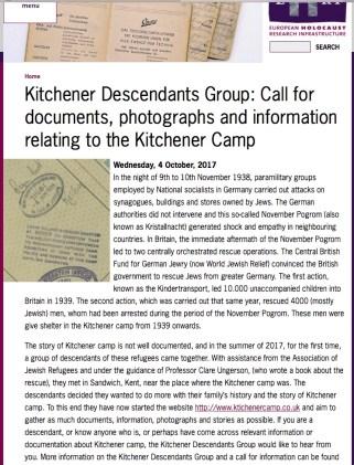Kitchener camp, EHRI Advert, October 2017