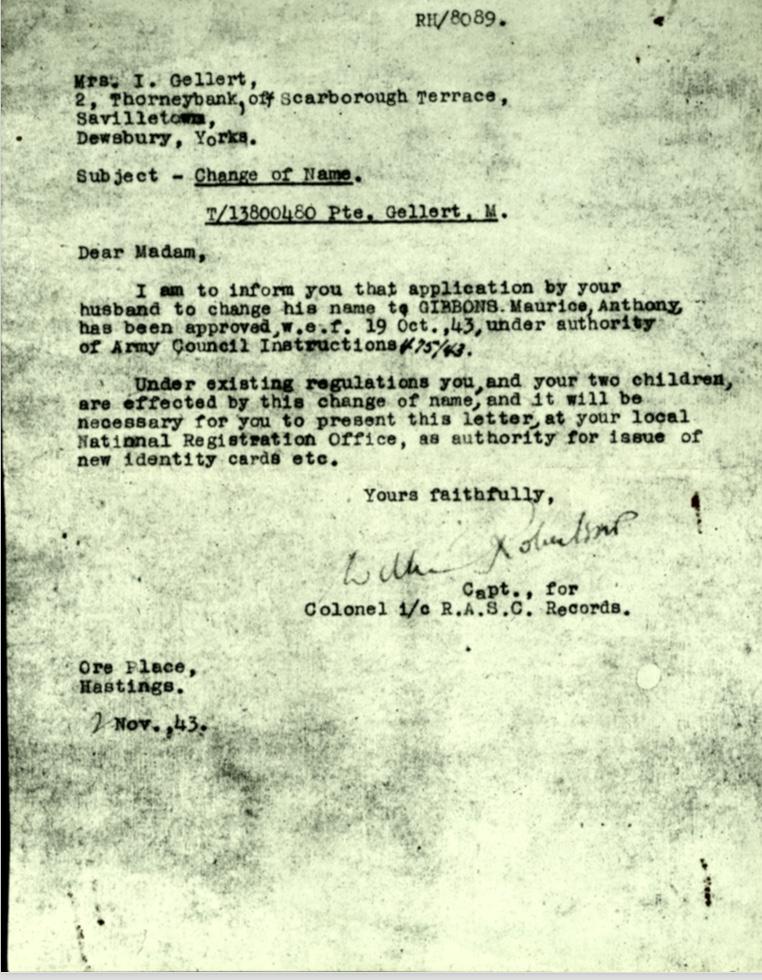 Kitchener camp, Martin Gellert, Letter 2 November 1943, Pioneer Corps, Change of name dated 19 October 1943