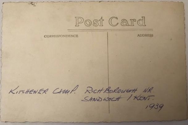 Richborough Jewish refugee camp, Martin Gellert, 1939, reverse