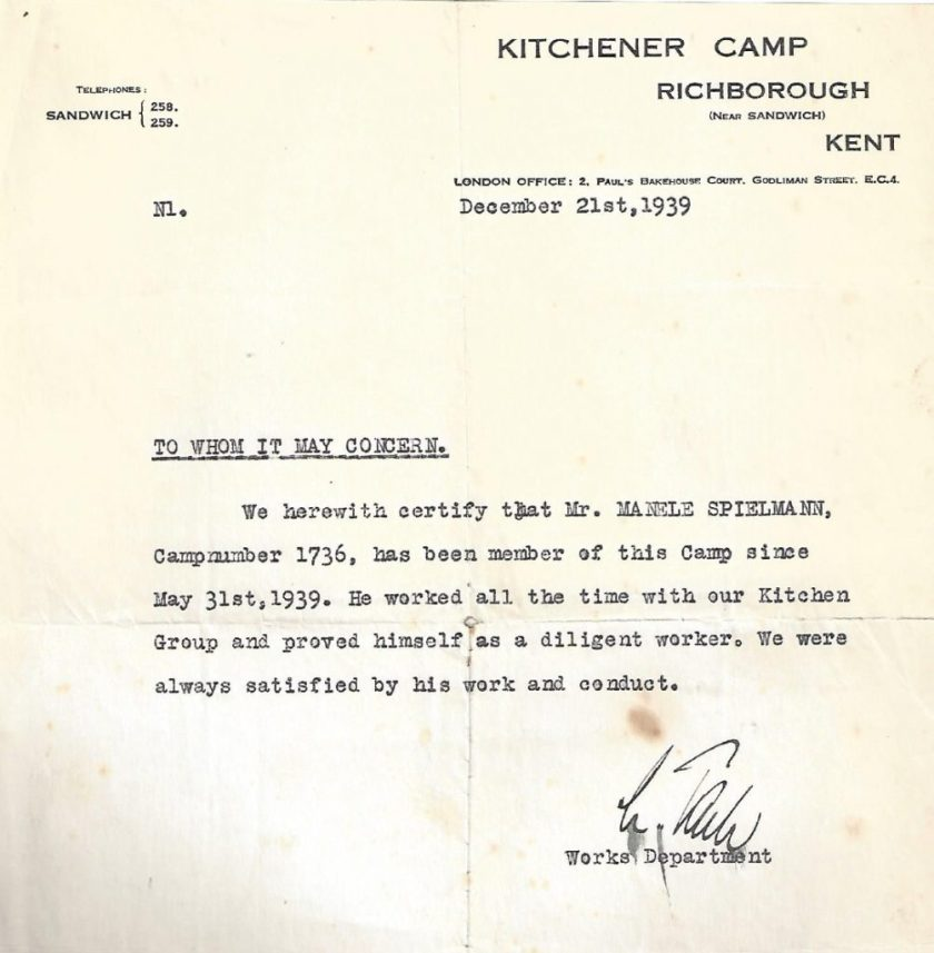 Kitchener camp, Manele Spielmann, Letter, reference, Arrival at camp 31 May 1939, Kitchen group, Diligent worker, 21 December 1939