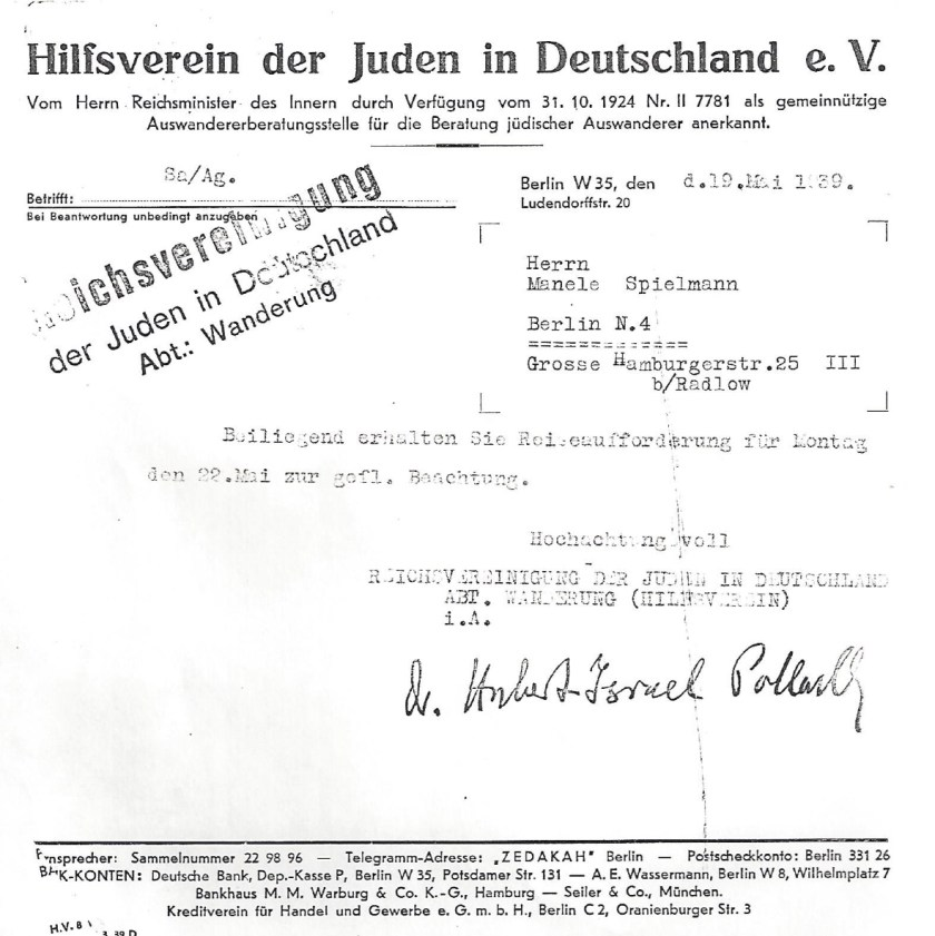 Kitchener camp, Manele Spielmann, Letter, Hilfsverein der Juden in Deutschland, Hubert Pollard, 19 May 1929