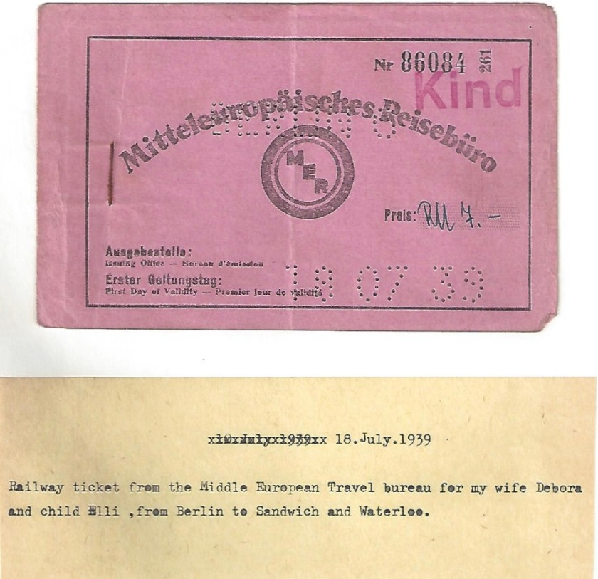 Kitchener camp, Manele Spielmann, Document, Railway ticket, Mitteleuropäisches Reisebüro, Berlin to Sandwich for wife Debora and daughter Elli, 18 July 1939
