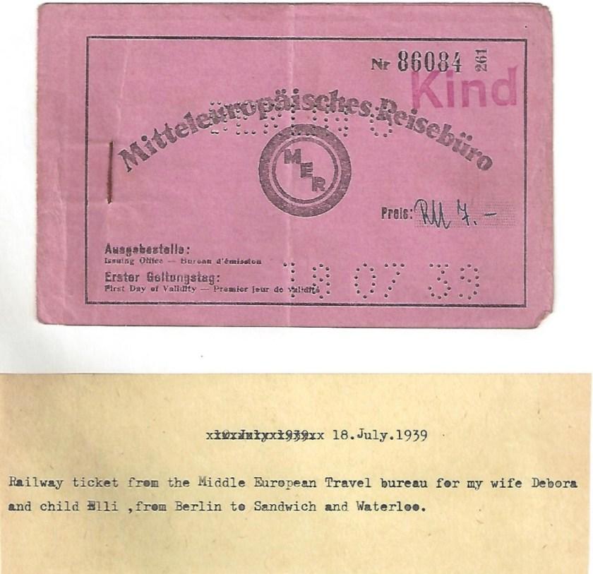 Kitchener camp, Manele Spielmann, Document, Railway ticket, Mitteleuropäisches Reisebüro, Berlin to Sandwich for wife Debora and daughter Elli, 18 July 1939