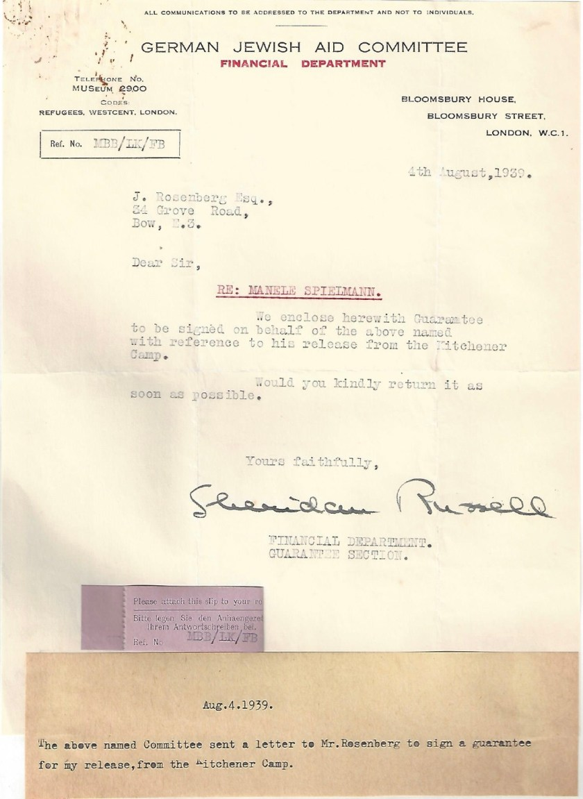 Kitchener camp, Manele Spielmann, Letter, German Jewish Aid Committee, Bloomsbury House, Sheridan Russell, Guarantee for release from camp, 4 August 1939