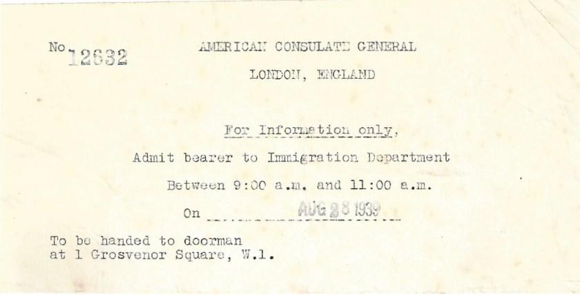 Kitchener camp, Manele Spielmann, Document, American Consulate General, London, Immigration Department, 28 August 1939