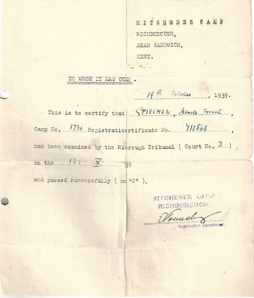 Kitchener camp, Manele Spielmann, Camp number 1736, Richborough Tribunal number 3, Passed C category, 13 October 1939