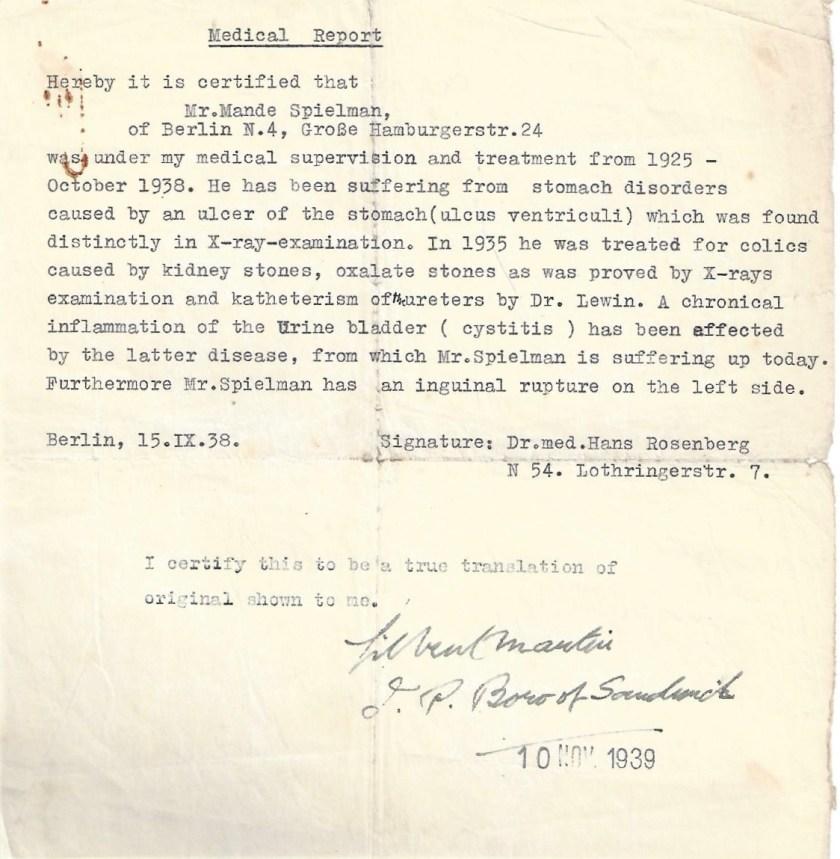 Kitchener camp, Manele Spielmann, Document, Medical report, Dr Gilbert Martin, Sandwich, 10 November 1939