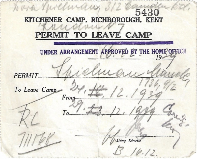 Kitchener camp, Manele Spielmann, Document, permit to leave camp, Home office approval 16 December 1939, For Camden 27 December 1939 to 29 December 1939, Leave 'for good' 28 December 1939