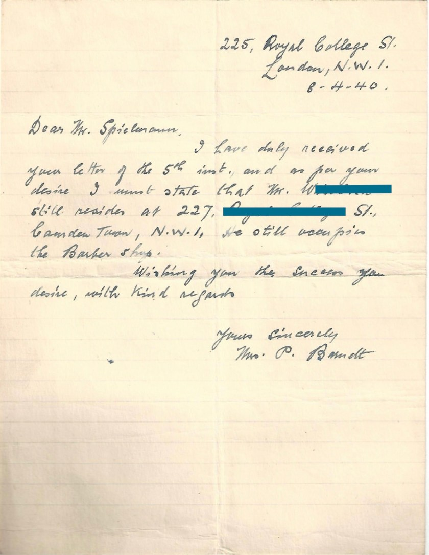 Kitchener camp, Manele Spielmann, Letter, 8 April 1940
