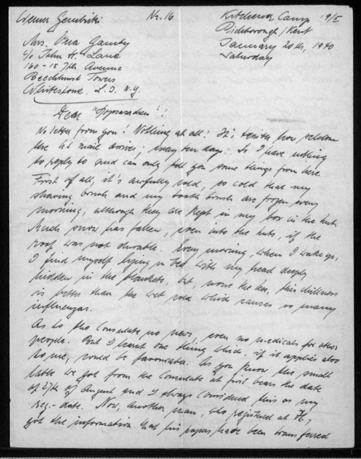 """Kitchener camp, Werner Gembicki, Letter, Mail taking 10 days to arrive from USA, Very cold - shaving brush and tooth brush are frozen every morning although kept in box in hut, """"Much snow has fallen, even into the huts, if the roof was not durable"""", """"Every morning, when I wake up, I find myself lying in bed with my head deeply hidden in the blankets, but, none the less, this chilliness is better than the wet cold which causes so many influenzas"""", News about Consulate, 20 January 1940, page 1"""