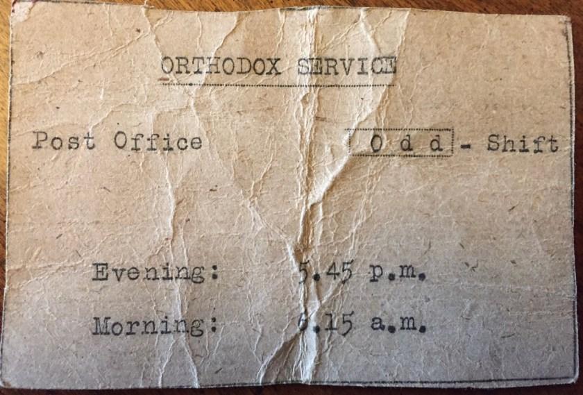 Kitchener camp, Josef Frank, Orthodox service, Post Office, Odd Shift, Evening 5.45pm. Morning 6.15am
