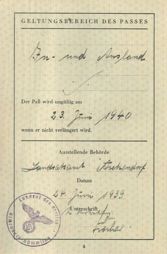 Richborough camp, Josef Frank, Reisepass invalid from 23 June 1940, Issued 24 June 1939