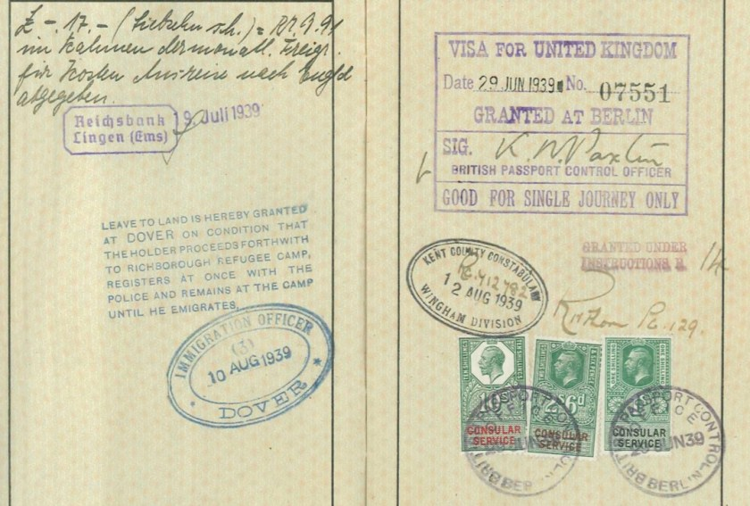 Richborough camp, Josef Frank, Reisepass, Reichsbank 19 July 1939, Leave to land at Dover 10 August 1939, UK visa 29 June 1939, Kent police 12 August 1939