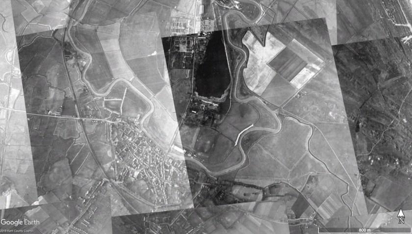 Richborough transit camp, January 1940, Google Earth map