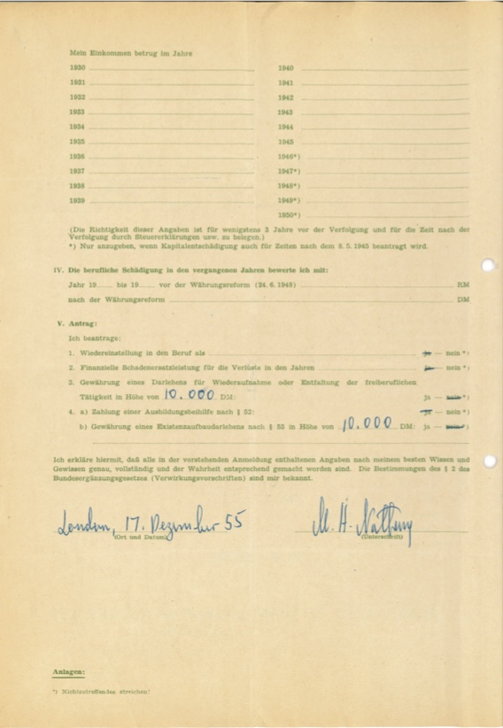 Kitchener camp, Max Heinz Nathan, Restitution claim, 17 December 1955