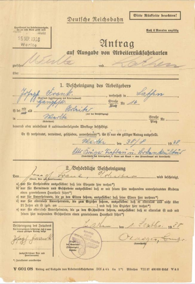 Kitchener camp, Josef Frank, Form, Deutßche Reichsbahn, A worker return ticket, 15 September 1938, page 1