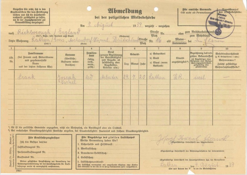 Kitchener camp, Josef Frank, Unsubscribe from the police registration office, 7 August 1939, page 1