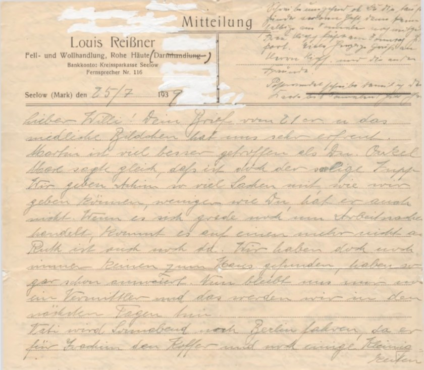 Kitchener camp, Willi Reissner, Letter, 25 July 1939, page 1