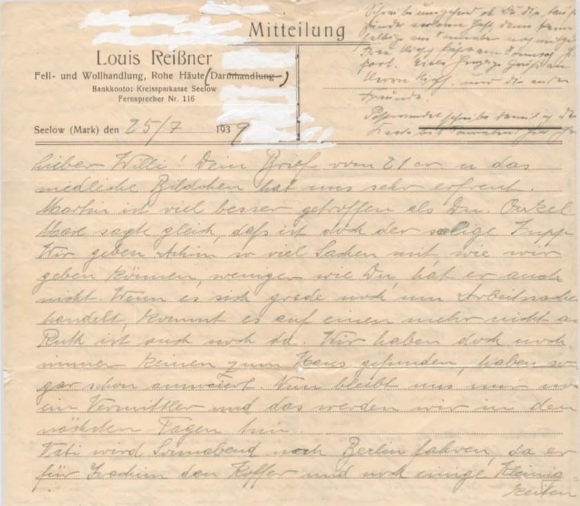 Kitchener camp, Willi Reissner, Letter, 25 July 1939, page 1