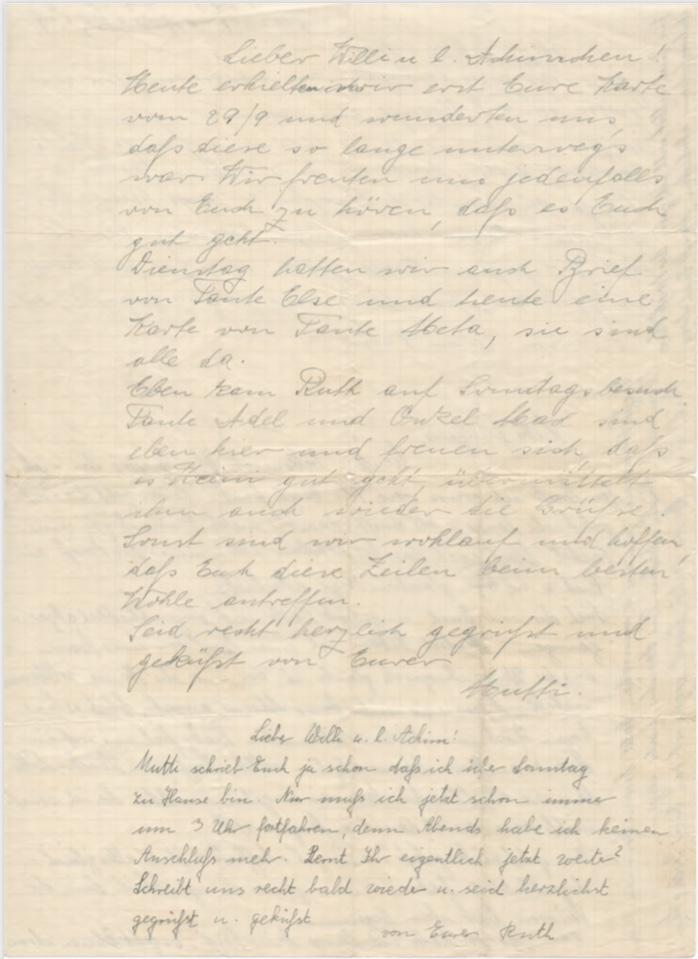Richborough camp, Willi Reissner, Joachim Reissner, Letter, 1939, page 2