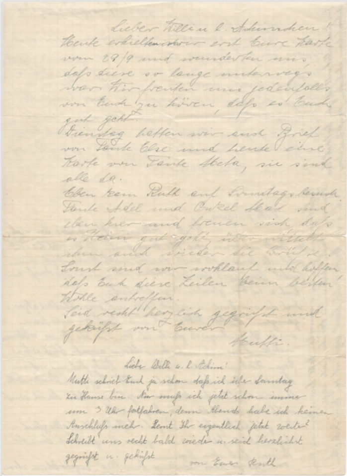 Richborough camp, Willi Reissner, Joachim Reissner, Letter, 1939, page 2