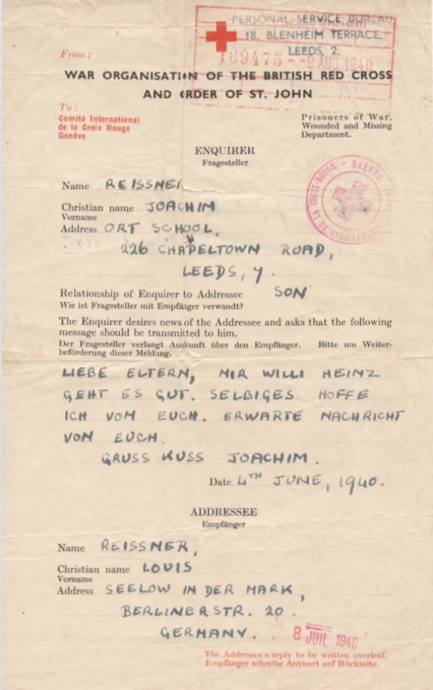 Richborough camp, Joachim Reissner, Red Cross letter, 4 June 1940, Stamped 9 August 1940, page 1
