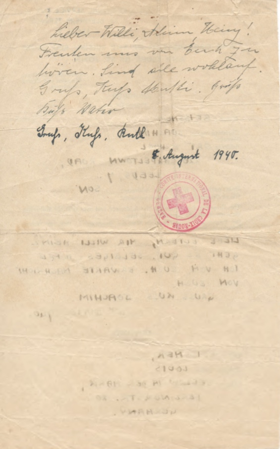 Richborough camp, Joachim Reissner, Red Cross letter, 4 June 1940, Stamped 9 August 1940, page 2
