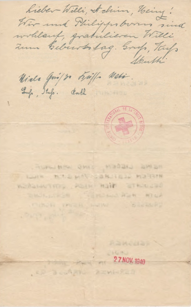Richborough camp, Joachim Reissner, Red Cross letter, 30 July 1940, Stamped 15 November 1940, page 2