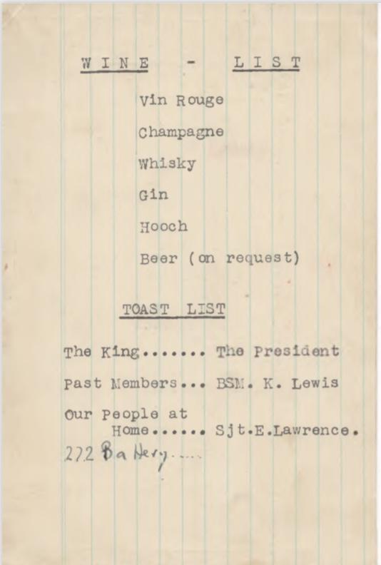 Kitchener camp, Pioneer corps, Wine List, Toast List, 272 battery, 25 December 1945